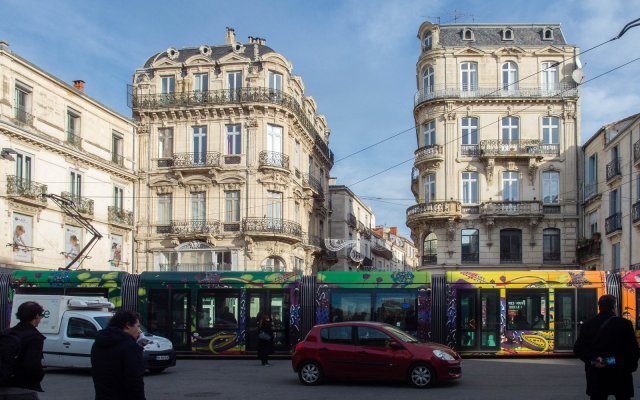 19th century buildings and 21st century tram in Montpellier