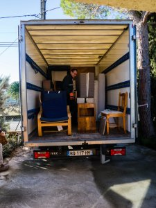 Loading up the excess furniture