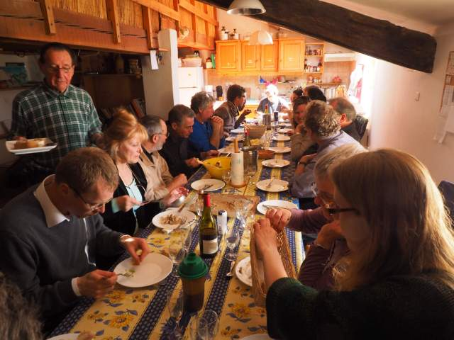 Communal eating with many guests