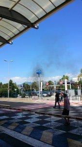 Smoke rising from burning tyres