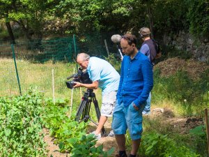 Filming the new vegetable garden
