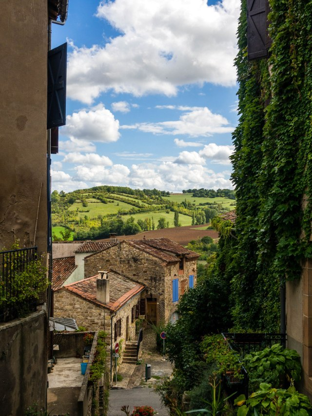 From the road up to Cordes-sur-Ciel, an almost perfectly preserved medieval town