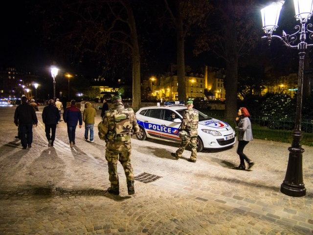 Mobile army patrol near Notre Dame.