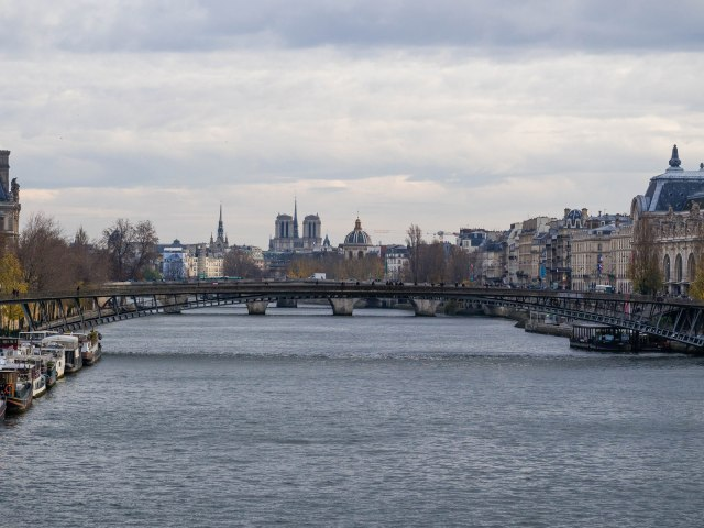 The Seine looking towards Notre Dame; the Louvre is on the left.