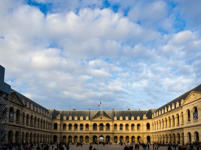 The central courtyard of Les Invalides where the Army Museum is.
