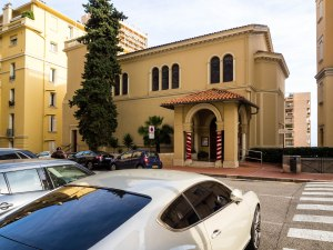 The Anglican church in Monaco. Of course it had to be a Bentley that's in the foreground.