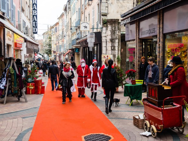 Santas in Draguignan: part of the town's Christmas festivities, which included a market and an ice rink
