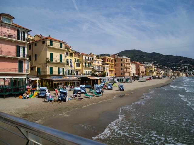 Part of the beach at Alassio