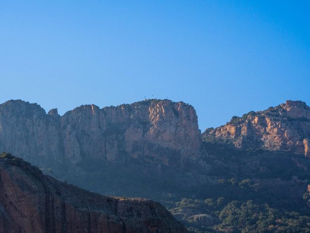 Rocher de Roquebrune from the north. You can just see the three crosses.