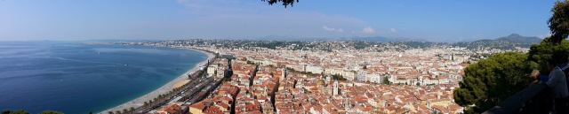 Nice from the old citadel. The Promenade des Anglais is on the far curve of the bay.