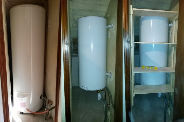 L to R: the original tank; the new one; and with the new shelves
