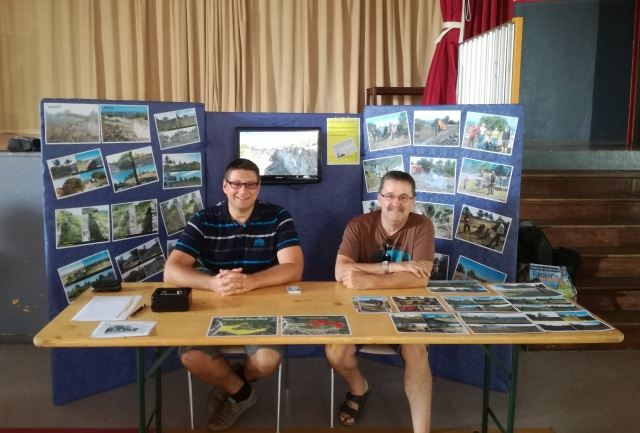 Cyril and Xavier at the oppidum stall. Xavier is the driving force behind the association.