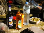 After a walk you need an aperitifs before your picnic (the middle bottle actually contains wine).