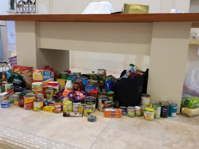 The collection for a local food bank (yes, they are needed on the Cote d'Azur too).
