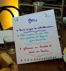 Wednesday evening's menu beautifully written by Anna Mouhot