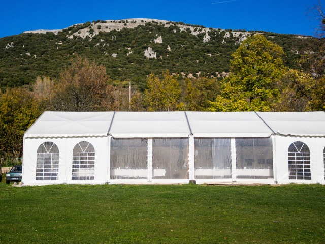 The marquee set up for an evening meal