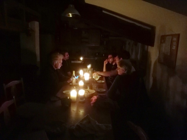 It's not that we meant to have a romantic candlelit dinner, but the storm had knocked the electricity off