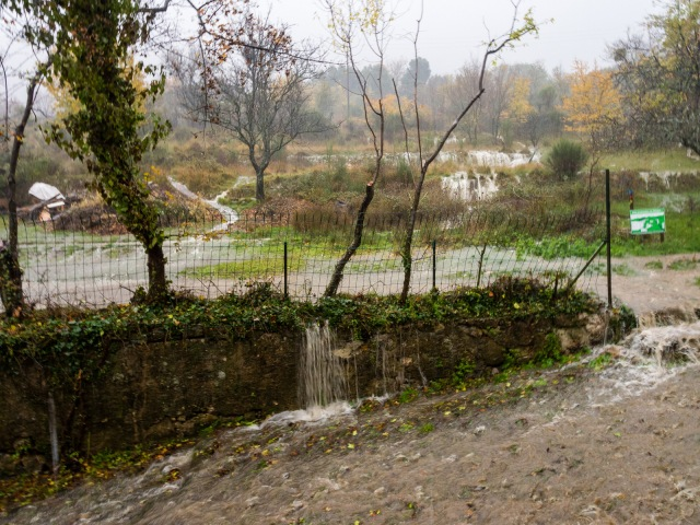 In the heaviest rain, water flows down the terraces and floods all the paths