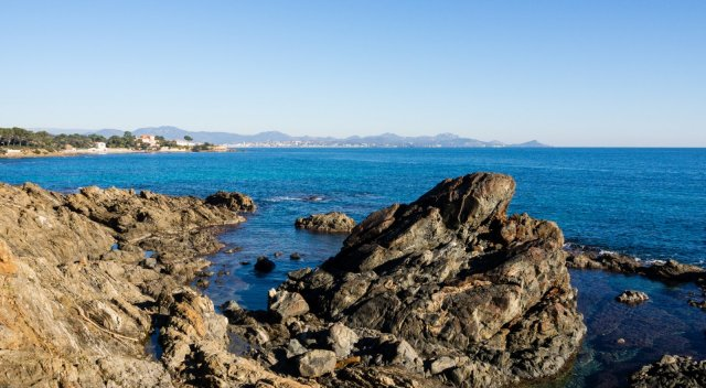 Coastal path looking north towards Frejus/St Raphael and the Esterel in the background