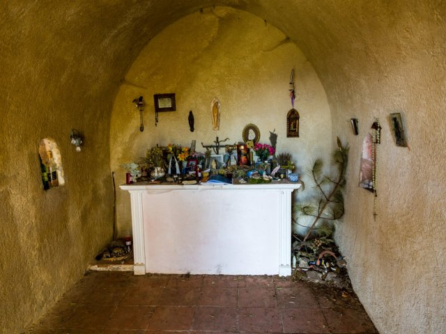 Inside the Chapel of Notre-Dame de Liesse. There's a visitor's book to write comments in.