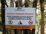 Warning notice near Sillans waterfall