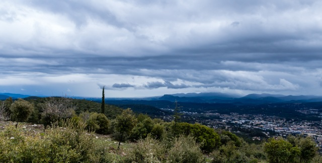 Above Draguignan with cloud and rain moving in from Massif des Maures