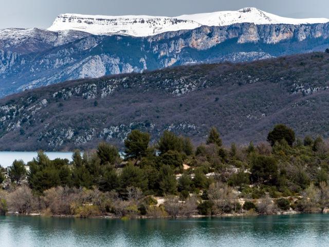 Snow on the mountains above Gorges du Verdon, above Lac Ste Croix