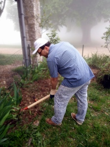 Courmettes volunteers gardening in the mist